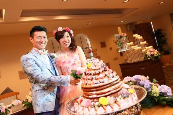 新潟市結婚式場 ケーキカット 演出 ホットケーキカット 大好物 カラードリップ
