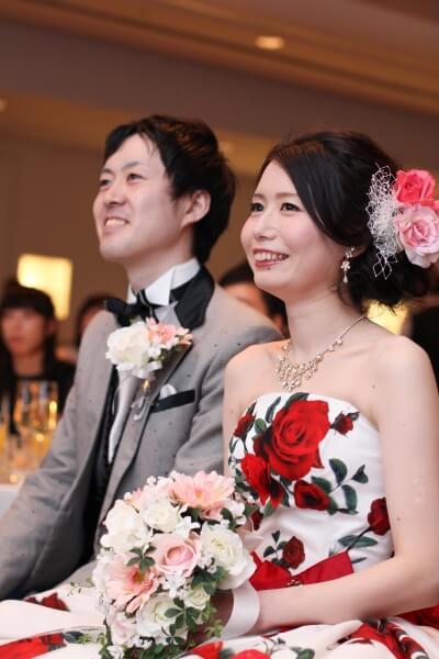 新潟市結婚式場 お色直し入場 カラードレス タキシード 映像上映 DVD上映