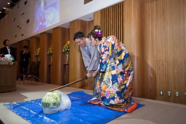 新潟市結婚式場 ブライダルステージデュオグランシャリオ ケーキ入刀 スイカ