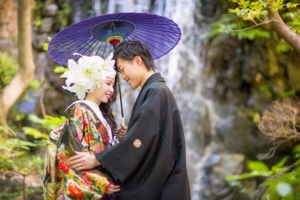 新潟市結婚式場 ブライダルステージデュオ 前撮り撮影 ロケーション撮影 和装 滝